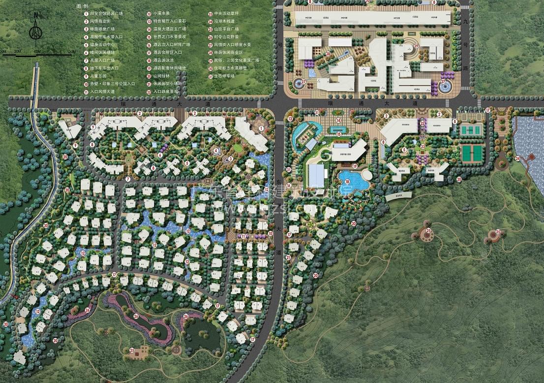 湖北赤壁三号公寓一期及酒店别墅区整体景观设计